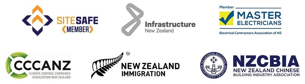 sitesafe member logo,cccanz logo, new zealand immigration logoInfrastructure New Zealand logo, Master Electricians logo, NZCBIA logo